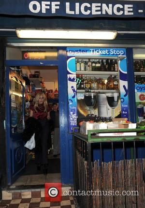 Lady Gaga - Lady Gaga stocks up on supplies at an off licence in Camden, before heading to a recording...