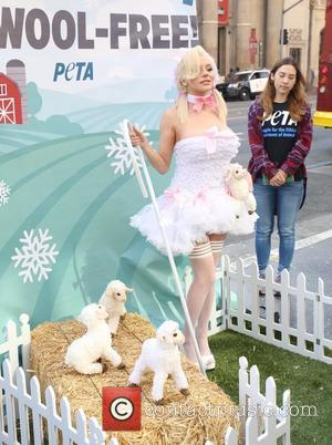 Courtney Stodden - Courtney Stodden protests for PETA's 'Save The Sheep!' Campaign at Hollywood And Highland Center at hollywood &...