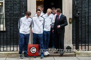 David Cameron, Andy Murray, Jamie Murray, Kyle Edmund, James Ward, Dominic Inglot, Leon Smith , Dan Evans - David Cup...