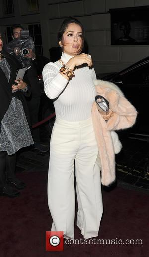 Salma Hayek - Celebrities attend Charlotte Tilbury's Christmas Party, held at the Nag's Head Pub in Covent Garden - London,...