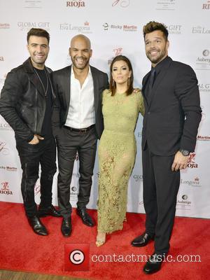 Jencarlos Canela, Amaury Nolasco, Eva Longoria and Ricky Martin