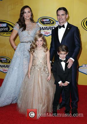 Jeff Gordon, Ingrid Vandebosch, Ella Gordon and Leo Gordon