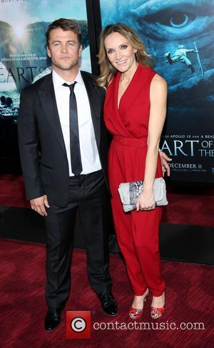 Luke Hemsworth with Wife - New York Premiere of