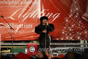 Jazmine Sullivan - Jazmine Sullivan sings at the christmas tree lighting ceremony at the City Hall court yard - Philadelphia,...