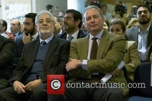 Placido Domingo , Bertin Osborne - 'Placido en el alma' charity concert at Santiago Bernabeu stadium - Madrid, Spain -...