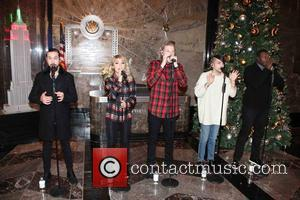 Avi Kaplan, Scott Hoying, Kristie Maldonado, Mitch Garssi , Kevin Olusola - Cappella pop group Pentatonix at the Empire State...