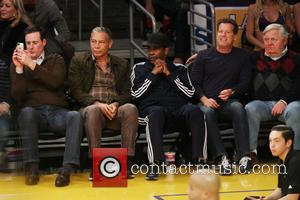 Denzel Washington - Celebrities at the Lakers Game. The Houston Rockets defeats the Los Angeles Lakers by the final score...
