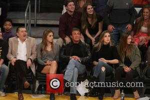 Sylvester Stallone, Sistine Rose Stallone, Sophia Rose Stallone , Scarlet Rose Stallone - Celebrities at the Lakers Game. The Houston...