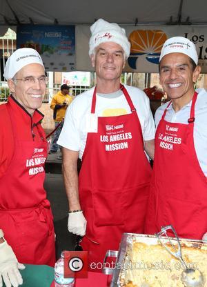 Jeffrey Katzenberg, Harry Hamlin and Antonio Villaraigosa