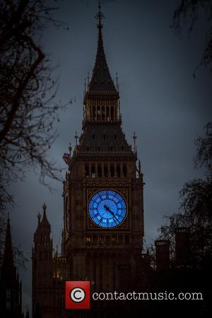 Big Ben - Big Ben and the Shell Building lit up in the Unicef's cyan blue. This is to encourage...