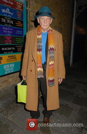 Sir Ian McKellen - Jim Broadbent leaving The Noël Coward Theatre after performing in 'A Christmas Carol' - London, United...
