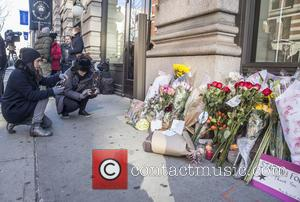 Atmosphere - Tributes commemorating the death of pop icon David Bowie are placed at his residence in New York at...