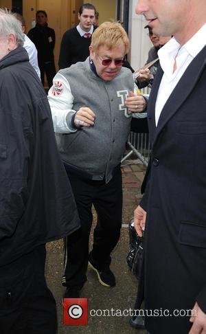 Elton John - Elton John leaves the BBC Radio 2 Live Lounge at Maida Vale Studios - London, United Kingdom...