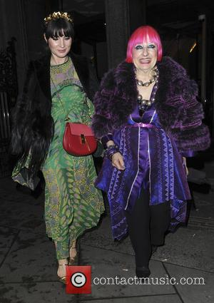 Dame Zandra Rhodes Grace Woodward - Celebrities attend Vogue 100 A Century of Style opening reception - London, United Kingdom...