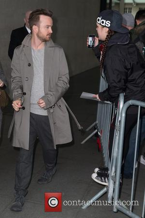 Aaron Paul - Aaron Paul arriving at the BBC Radio 1 studios at BBC Portland Place - London, United Kingdom...