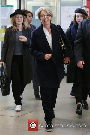 Emma Thompson - Emma Thompson arriving at Tegel airport to leave town after attending the 66th annual International Berlin Film...