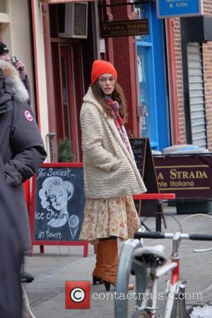Keira Knightley - Stars on the set of 'Collateral Beauty,' filming in Manhattan - Manhattan, New York, United States -...