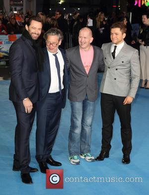 Hugh Jackman, Dexter Fletcher, Eddie 'the Eagle' Edwards and Taron Egerton