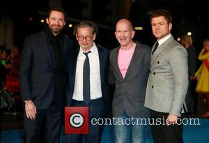 Hugh Jackman, Dexter Fletcher, Eddie Edwards and Taron Egerton