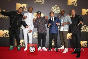 Actors O'shea Jackson Jr., Corey Hawkins, Common, Neil Brown Jr., Jason Mitchell and Aldis Hodge