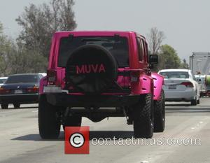 ,  - Amber Rose stops by a drive-through restaurant in her hot pink Jeep in Hollywood - Hollywood, California,...