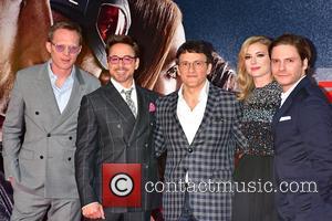 Paul Bettany, Robert Downey Jr., Anthony Russo, Emily Van Camp and Daniel Bruehl
