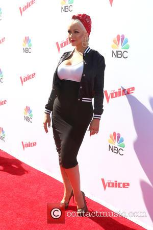 Christina Aguilera - 'The Voice' Karaoke for Charity held at Hyde Sunset Kitchen at Hyde - Los Angeles, California, United...