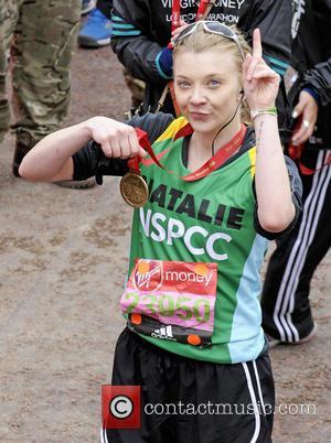 Natalie Dormer - 2016 Virgin Money London Marathon - Celebrity finishers at Blackheath, London - London, United Kingdom - Sunday...