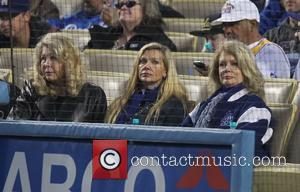 Mary Hart - Mary Hart watches the Los Angeles Dodgers v Miami Marlins MLB game held at Dodger Stadium. The...