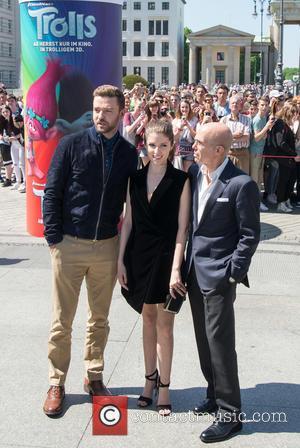 Justin Timberlake, Anna Kendrick and Jeffrey Katzenberg