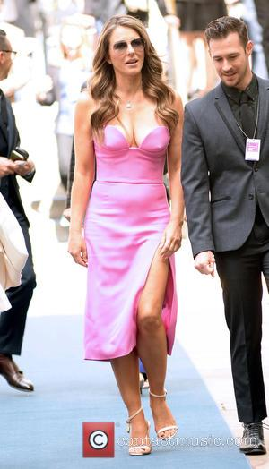 Elizabeth Hurley - 2016 NBC Universal Upfront Presentation held at Radio City Music Hall - Arrivals at Rockefeller Center, Radio...