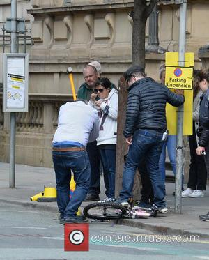 Atmosphere - Michelle Keegan filming a car crash scene for the BBC army drama 'Our Girl' - Manchester, United Kingdom...