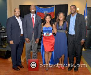 Justice, Saskya Sky, Haiti Minister Of Tourism Guy Didier Hyppolite, City Of Miramar Mayor Wayne Messam, City Of Miramar Commissioner Darline B. Riggs and Haiti Counsul Guy Francois Jr.