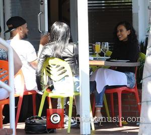Christina Milian , Karrueche Tran - Christina Milian and Karrueche Tran having lunch at Mauro's cafe with friends in West...