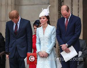 Prince Harry, Catherine Duchess of Cambridge, Kate Middleton, Prince William , Duke of Cambridge - The Queen, accompanied by Prince...