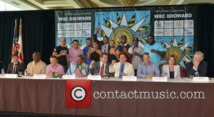 (front L_r) Cristian Bedoya, Evander Holyfield, Julio César Chávez, Don King, Mauricio Sulaiman, Romero Britto, Mayor Martin Kiar, Stacy Ritter, Ed Walls (top L-r), Niko Valdes, Dino Spencer, Joe Fournier, Chassity Martin, Marvin Campbell, Paulie Mallanggi, Trevor Bryant, Amir Imam and Bermain Stiverne