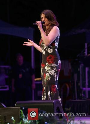 Idina Menzel performing on stage at the 2016 SummerStage Gala which was in honor of music business veteran Ron Delsener....