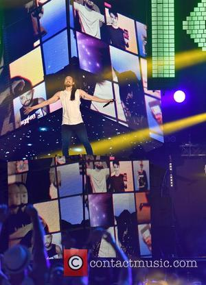 Steve Aoki performing on stage at MTV's Isle of MTV concert which is held in Malta. Floriana, Malta - Tuesday...