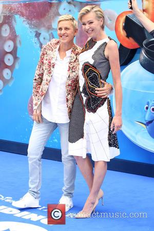 Ellen DeGeneres who voices Dory at the European premiere of 'Finding Dory' with her wife Portia De Rossi. Whilst visiting...