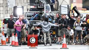 Algerian actress Sofia Boutella seen in makeup filming a scene for
