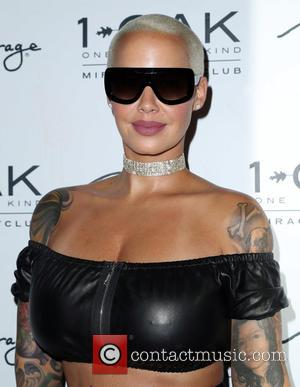 Amber Rose seen wearing sunglasses as she enters 1 OAK Nightclub Inside The Mirage. Amber was one of the special...
