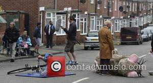 Sir David Jason along with other cast members filming Still Open All Hours in Balby, Doncaster, United Kingdom - Thursday...