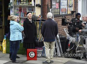Stephanie Cole and Sally Lindsey along with other cast members filming Still Open All Hours in Balby, Doncaster, United Kingdom...