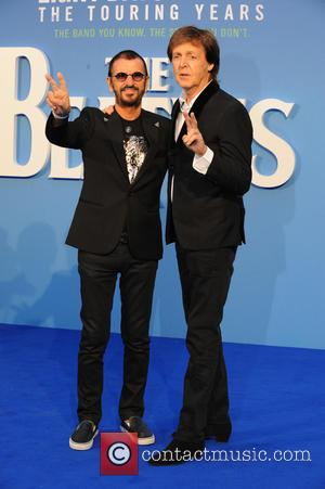 Paul McCartney and Ringo Star pose together at the 'The Beatles: Eight Days a Week' World Premiere held at Leicester...
