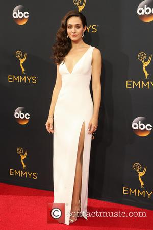 Emmy Rossum seen on the red carpet at the 68th Annual Primetime Emmy Awards held at the Microsoft Theater Los...