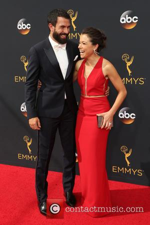 Tom Cullen and Tatiana Maslany seen on the red carpet at the 68th Annual Primetime Emmy Awards held at the...
