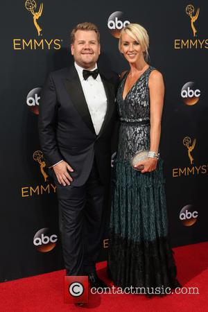 James Corden and Julia Carey on the red carpet at the 68th Annual Primetime Emmy Awards held at the Microsoft...