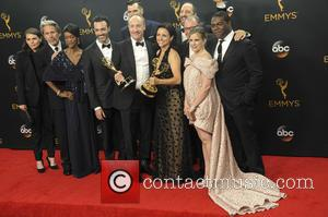 The cast and crew of Veep in the press room at the 68th Emmy Awards held at the Microsoft Theater,...