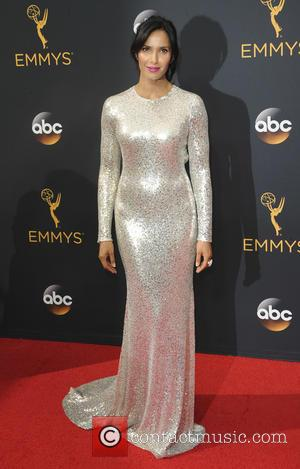 Padma Lakshmi seen on the red carpet at the 68th Annual Primetime Emmy Awards held at the Microsoft Theater Los...