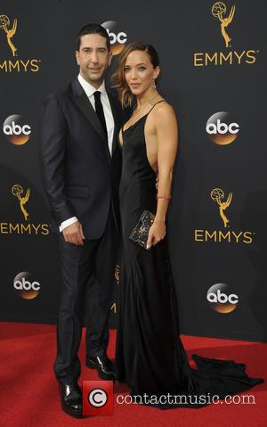 David Schwimmer and Zoe Beckman seen on the red carpet at the 68th Annual Primetime Emmy Awards held at the...